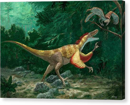 Feathered Dinosaurs Canvas Print by Chris Butler
