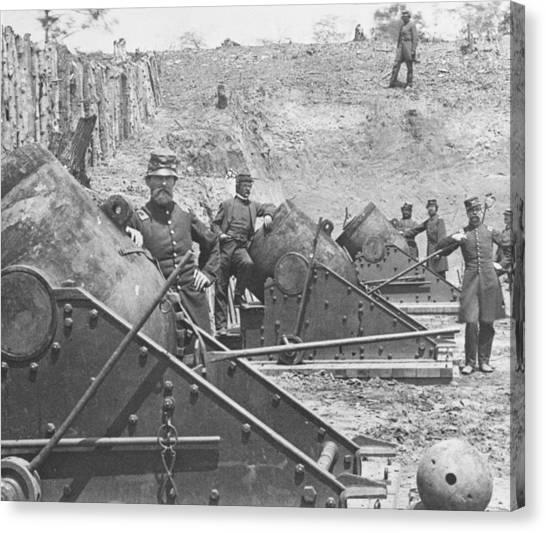 Army Of The Potomac Canvas Print - Federal Siege Guns Yorktown Virginia During The American Civil War by Mathew Brady