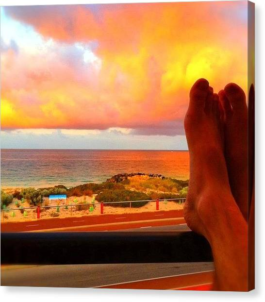 Ocean Sunrises Canvas Print - #feet Up Relaxing To The #sunrise by Kirk Roberts