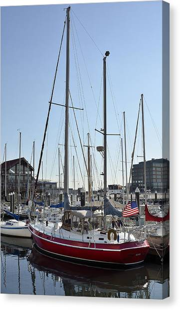 Fells Point Baltimore Maryland Canvas Print - Fells Point Boatyard by Brendan Reals