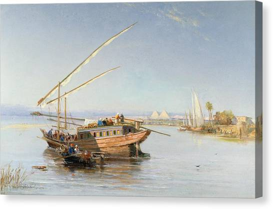 The Nile Canvas Print - Feluccas On The Nile by John Jnr Varley