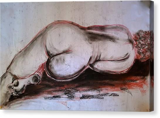 Female Nude Sleeping Canvas Print