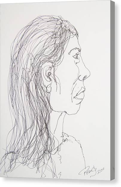 Female Portrait On Bus Canvas Print