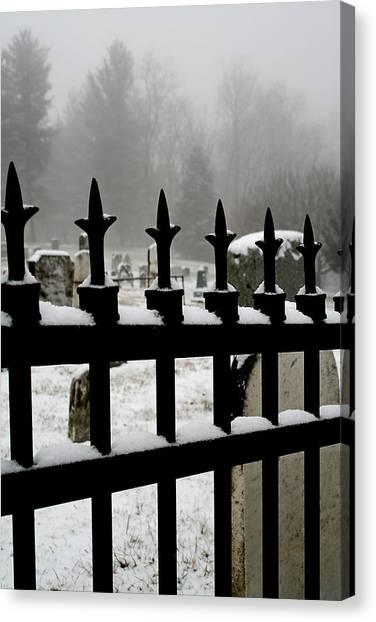 Fence With Snow Canvas Print