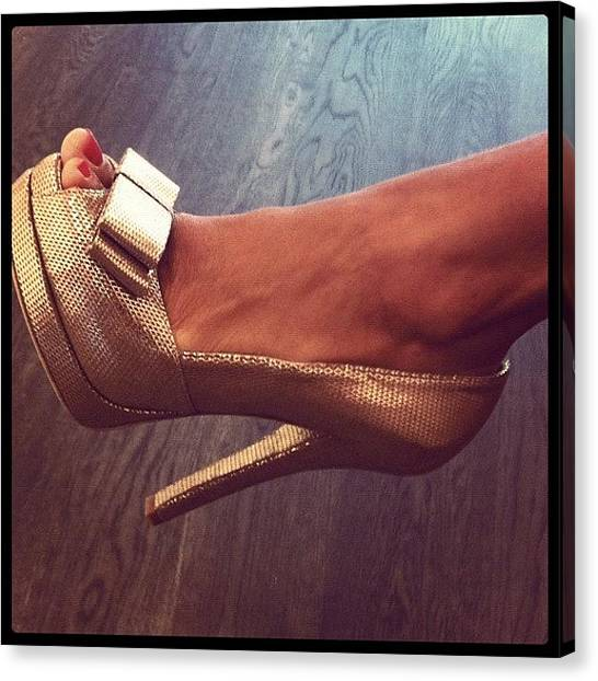 Ankles Canvas Print - #fendi #bow #gold #shoes #heel #feet by PhotoFashion ObsessedNYC