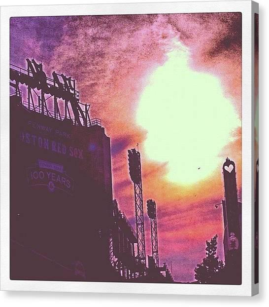 Sunset Horizon Canvas Print - Fenway Park. It's Like The Sun On Fire by Larry  Medina