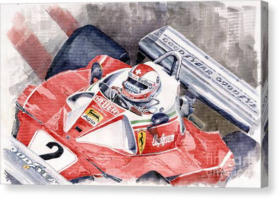 Ferrari Canvas Print - Ferrari 312 T 1976 Clay Regazzoni by Yuriy Shevchuk