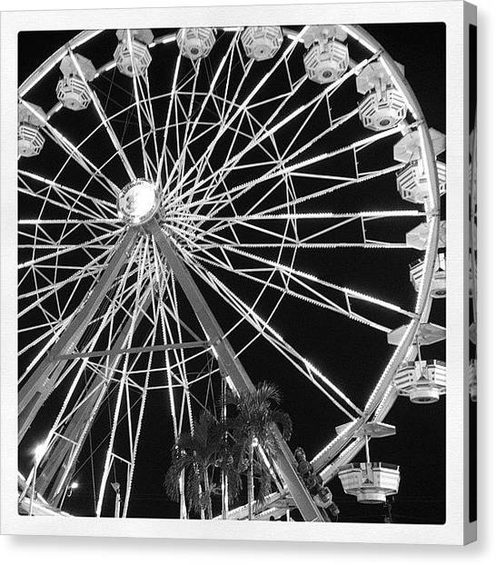 Palm Trees Canvas Print - Ferris Wheel I by Beach Bum Chix