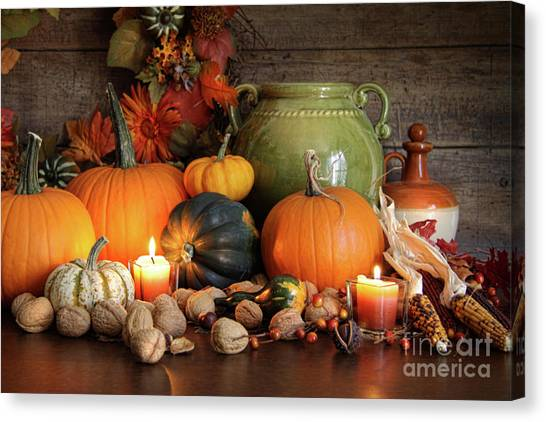 Ashes Canvas Print - Festive Autumn Variety Of Gourds And Pumpkins  by Sandra Cunningham