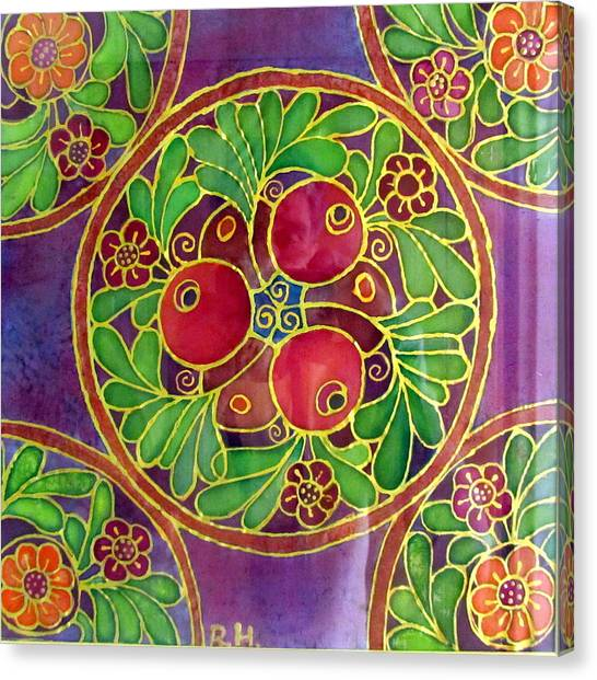 Festive Pomegranates In Gold And Vivid Colors Wall Decor In Red Green Purple Branch Leaves Flowers Canvas Print