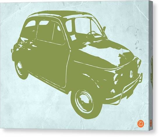 Muscle Cars Canvas Print - Fiat 500 by Naxart Studio