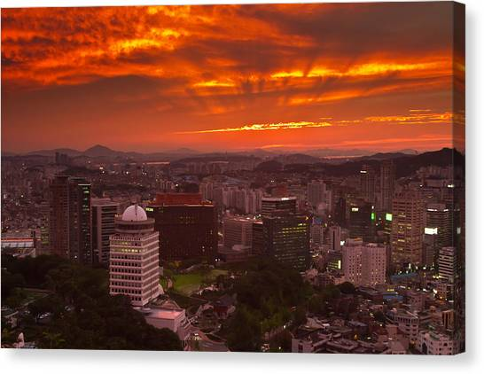 Fiery Seoul Sunset Canvas Print