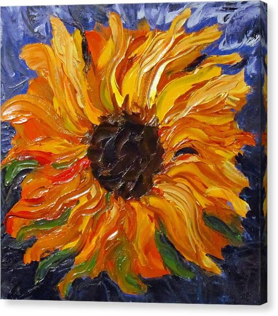 Fiery Sunflower Canvas Print