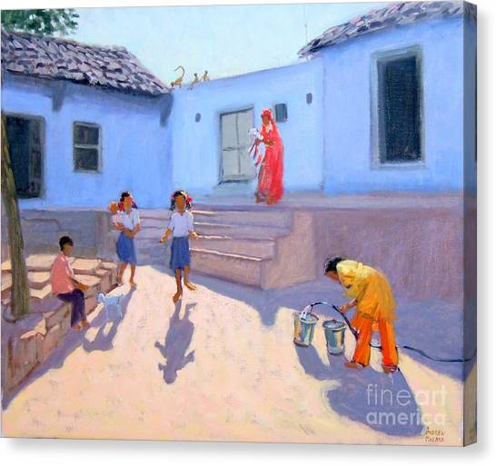 South Asia Canvas Print - Filling Water Buckets by Andrew Macara