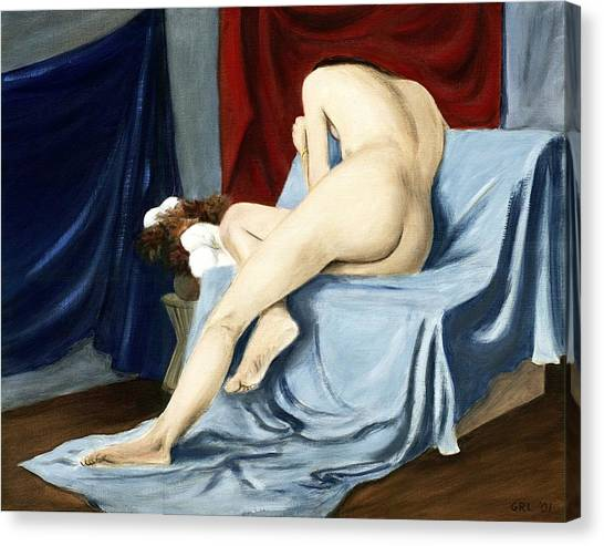 Canvas Print featuring the painting Fine Art Female Nude 2001 by G Linsenmayer