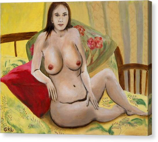 Fine Art Female Nude Seated 2010 Canvas Print