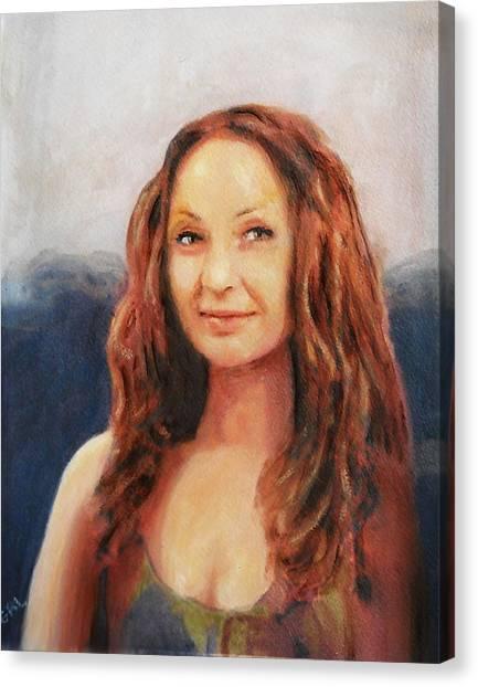 Fine Art Original Painting Jen Mona Lisa 2012 Canvas Print by G Linsenmayer