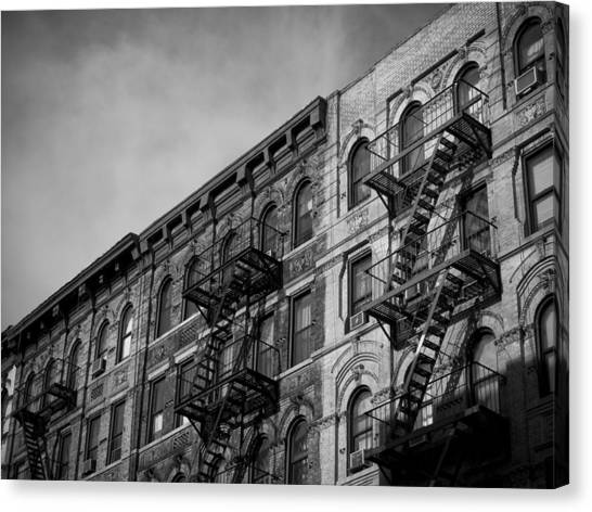 New York Taxi Street City Canvas Wall Art Picture Print Va: Fire Escapes Photograph By Darren Martin