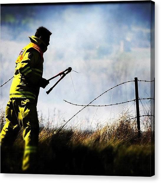 Flames Canvas Print - Fire #fire #bush #fireman #firemen by Luke Fuda