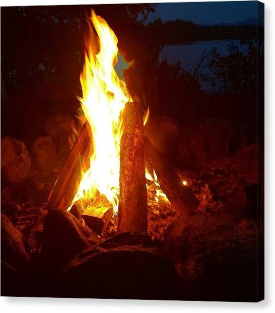 Flames Canvas Print - Fire #fire #nh #newhampshire by Danielle McNeil