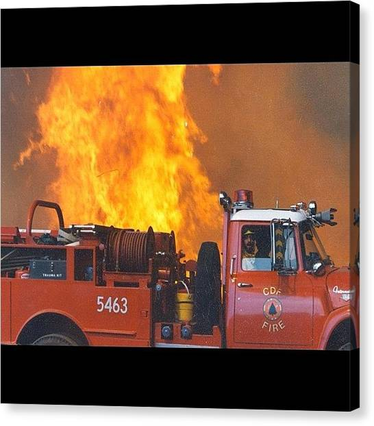 Firefighters Canvas Print - #fire #flames #cdf #calfire #wildland by Paul Wallingford