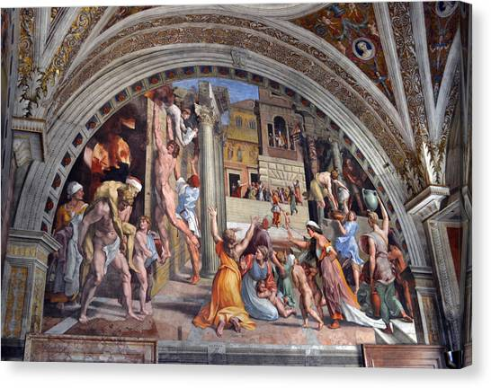 The Vatican Museum Canvas Print - Fire In The Borgo by Terence Davis