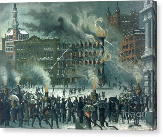 Nyfd Canvas Print - Fire In The New York World Building by American School