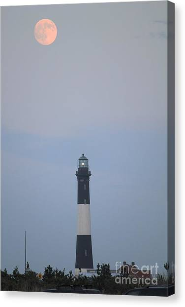Fire Island Light House  Canvas Print by Scenesational Photos