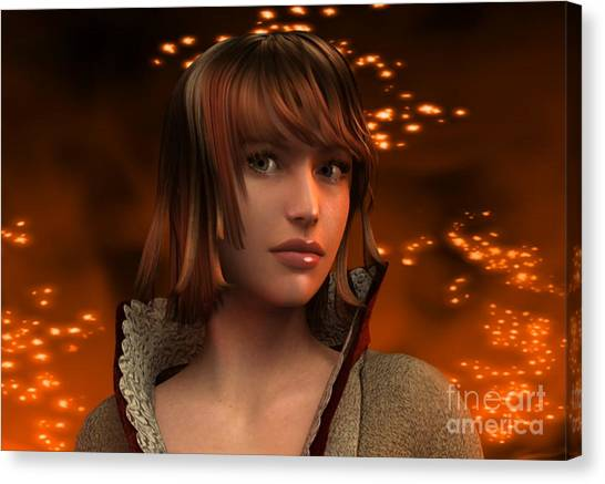 Fire Lady 3d Canvas Print