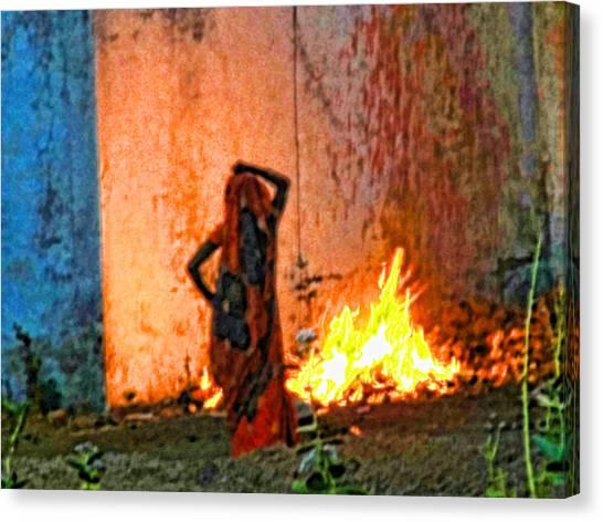 Fire Canvas Print by Makarand Purohit
