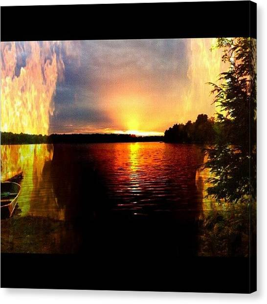 Flames Canvas Print - Fire On The Lake by Michelle Knapp