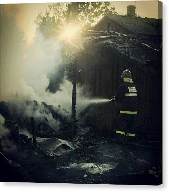 Firefighters Canvas Print - #firefighter, #fireman, #fire, #flames by Max Deviantrex