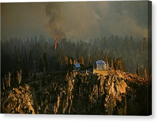Boise National Forest Canvas Print - Firefighters Cover The Scott Mountain by Mark Thiessen