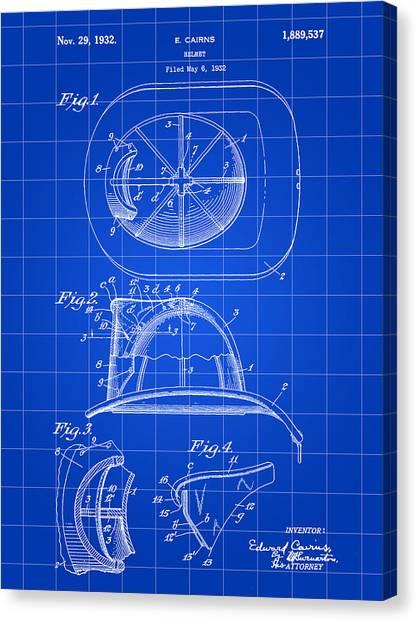 Volunteer Firefighter Canvas Print - Firefighter's Helmet Patent 1932 - Blue by Stephen Younts