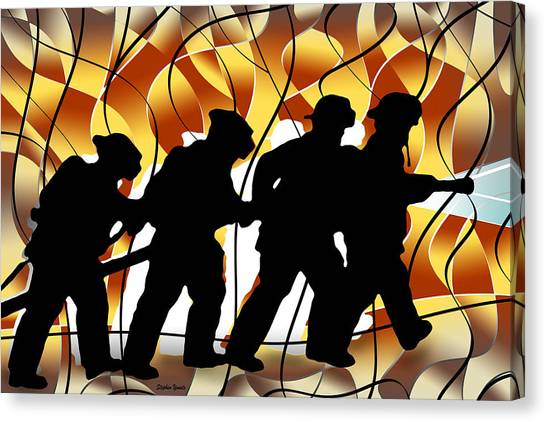 Volunteer Firefighter Canvas Print - Firefighters by Stephen Younts