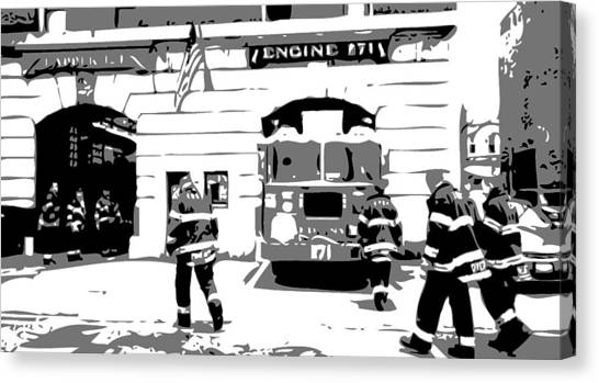 Nyfd Canvas Print - Firehouse Bw3 by Scott Kelley