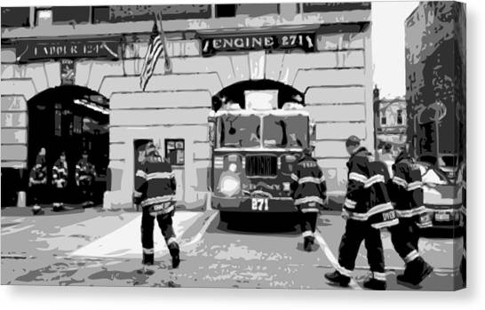 Nyfd Canvas Print - Firehouse Bw6 by Scott Kelley