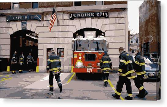 Nyfd Canvas Print - Firehouse Color 16 by Scott Kelley