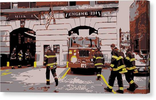 Nyfd Canvas Print - Firehouse Color 6 by Scott Kelley
