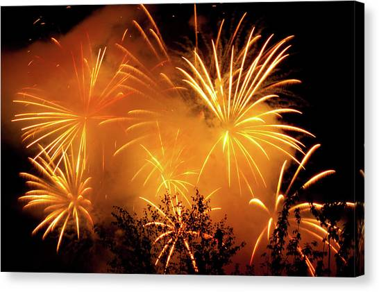 Fireworks Finale Canvas Print by Stanley French