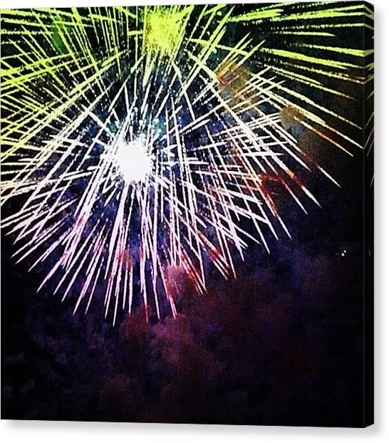Fireworks Canvas Print - #fireworks #fireworkshow #fireworkswag by Nicole Fedorov