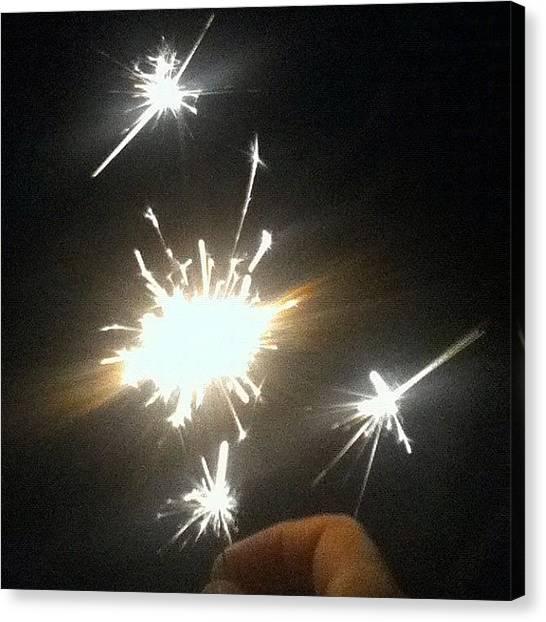 Fireworks Canvas Print - Fireworks For Daddy's Birthday Last by Leslie Drawdy ☀