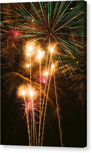 Pyrotechnics Canvas Print - Fireworks In Night Sky by Garry Gay