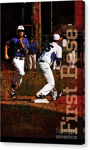 Strikeout Canvas Print - First Base by John Turek