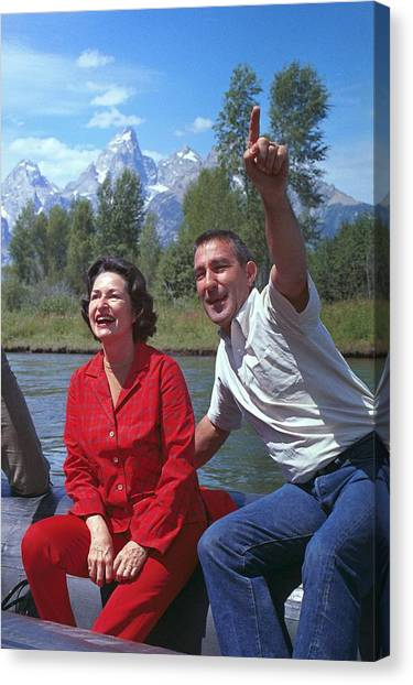 Lyndon Johnson Canvas Print - First Lady, Lady Bird Johnson, Rafting by Everett
