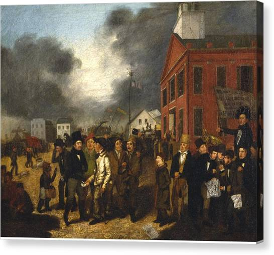 Democratic Politicians Canvas Print - First State Election In Detroit - Michigan by Thomas Mickel Burnham