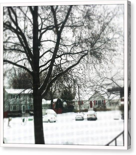 Salt Canvas Print - #firstsnowof2012 #nj #snow #hipstamatic by T C