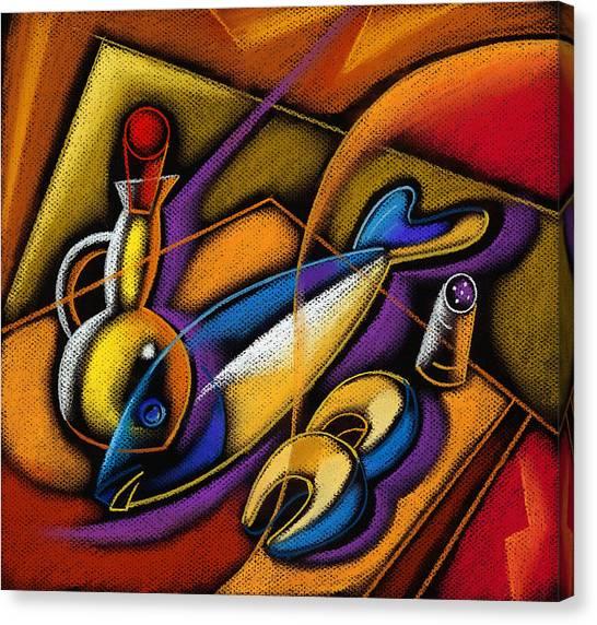 Trout Canvas Print - Fish by Leon Zernitsky