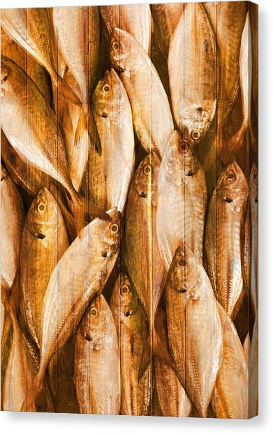 Border Wall Canvas Print - Fish Pattern On Wood by Setsiri Silapasuwanchai