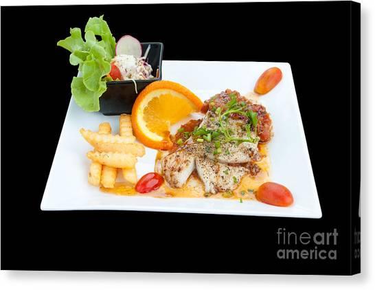 Watercress Canvas Print - Fish Steak by Atiketta Sangasaeng
